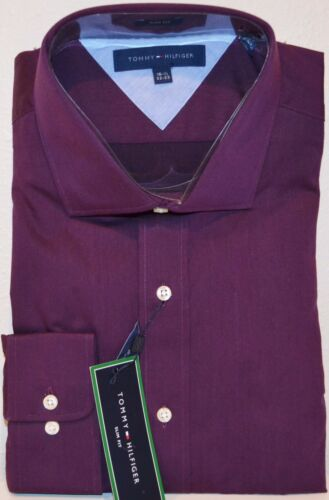 Tommy Hilfiger Easy Care 100/% Cotton Dress Shirt Slim Fit Long Sleeve Wine
