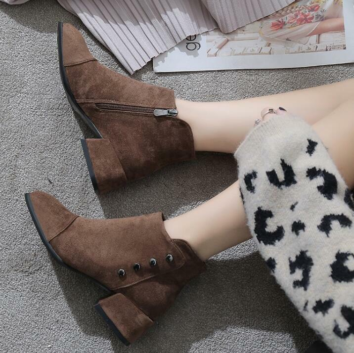 2019 Women's Autumn Winter New Simple Round Toe Low Heels Faux Suede Ankle Boots