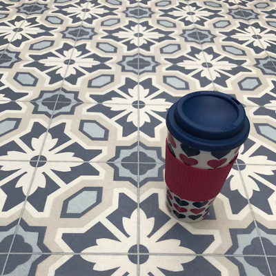 Fl Tile Effect Cushioned Sheet, Blue Bathroom Flooring