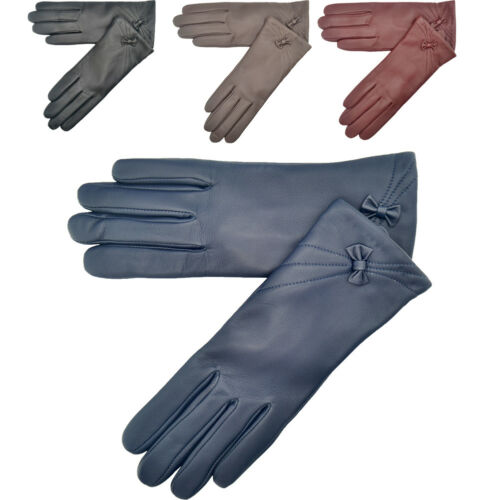 Ladies Womens Fleece Lined Soft Genuine Real Premium Leather Gloves Driving