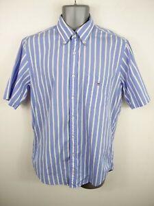 Herren-Gant-blau-weiss-gestreift-Knopfleiste-Kurzaermeliges-Sommer-Shirt-Groesse-M-Medium
