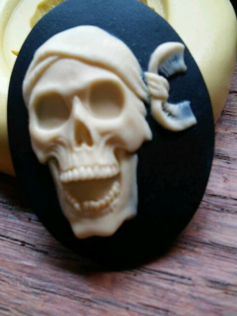 Skeleton Pirate cameo silicone push mold mould  resin sugar craft polymer clay