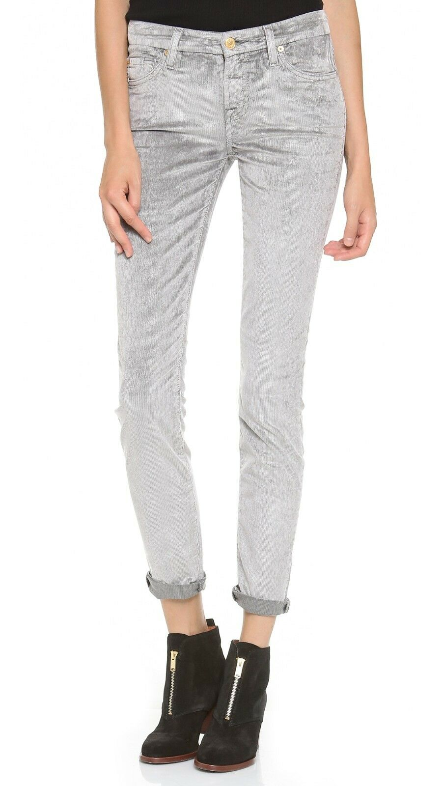 7 For All Mankind grey Skinny Cord Hose Sz 23 Neu