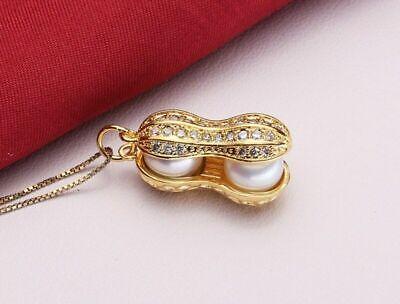 Damen Kette Anhänger 925 Sterling Silber Süßwasser Perlen Aaa Gelb Gold Verg Volumen Groß