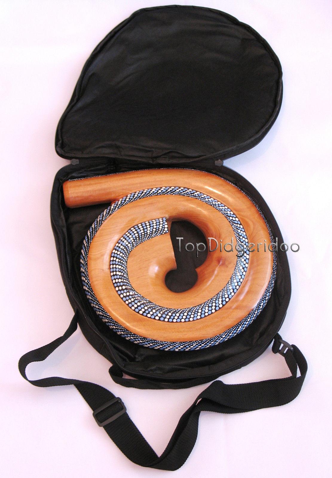 Spirale Didgeridoo + Sac Voyage Compact Escargot Coque Acajou Bois Main Gravé