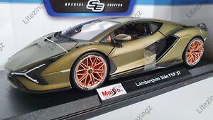 Maisto 1:18 Diecast Modelo De Carro Especial Lamborghini Sian FKP 37 Em Verde Metálico