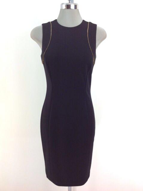 Calvin Klein Womens Sheath Dress Size 8 Black Sleeveless Gold Zipper