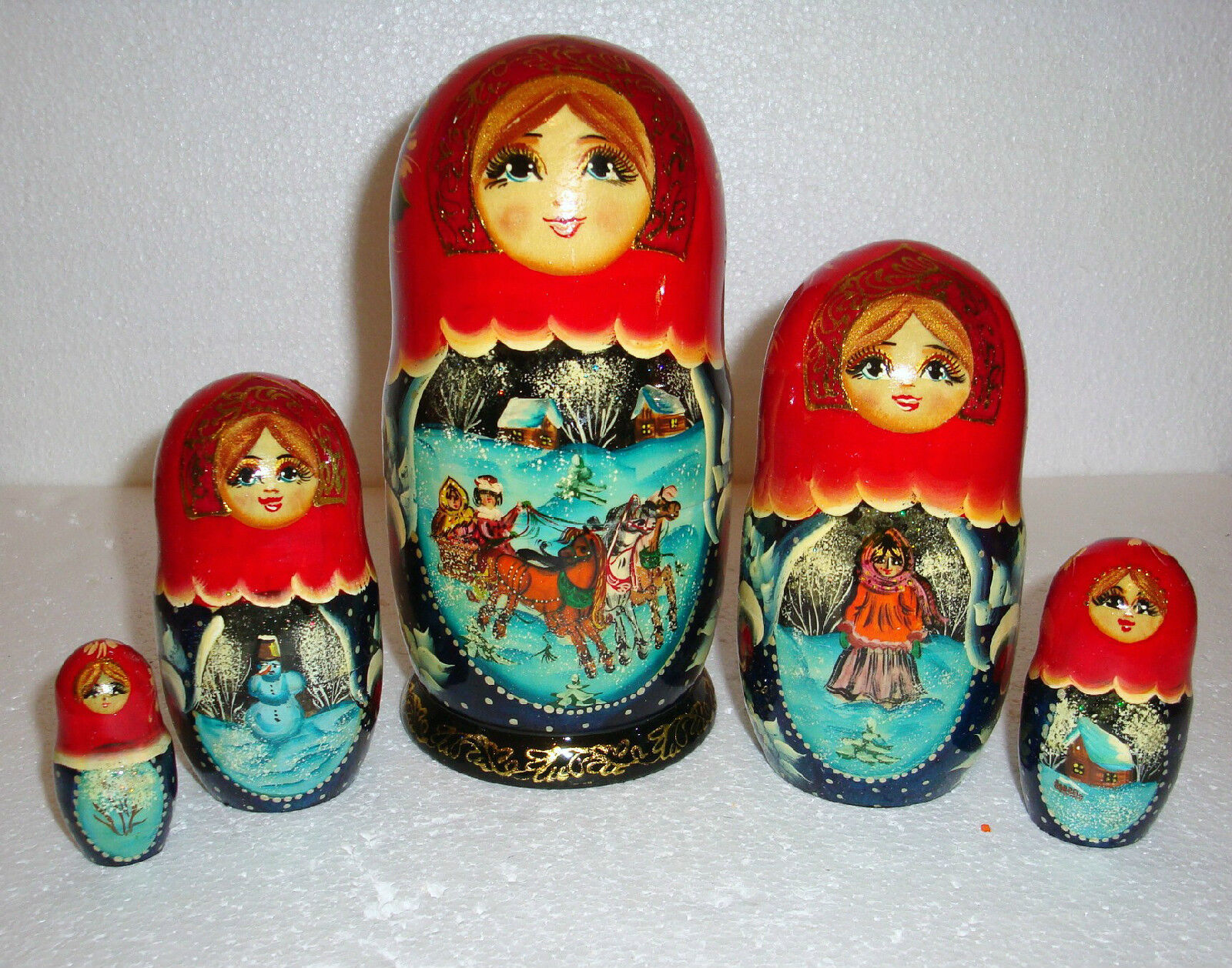 Beautiful russian nesting doll  5pc  7   Troïka  Magnifique  Made in Russie  bois