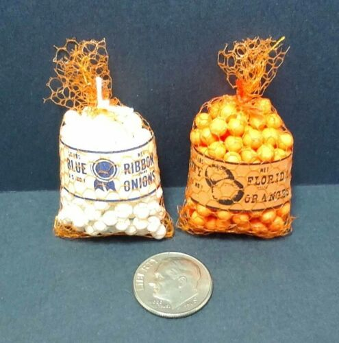 Dollhouse Miniature Sack of Oranges /& Sack of Onions General Store Kitchen 1:12