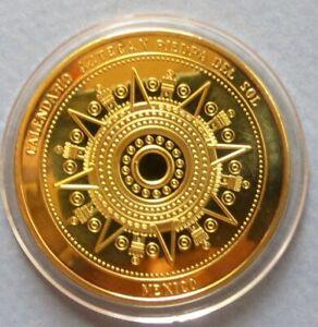 lt-lt-MEXICO-GOLD-CLAD-034-AZTEC-CALENDAR-034-PROOF-COIN-40-mm-034-BU-034-UNCIRCULATED-COIN