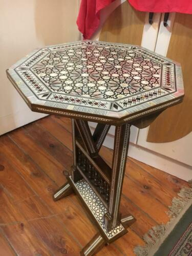 """Egyptian Handmade Wood End Table Inlaid Mother of Pearl 16/"""""""