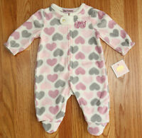 Juicy Couture Toddler Girl Footed Sleeper Ivory, Pink, Purple & Gray Hearts