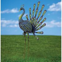 Peacock Metal Garden Sculpture Art Outdoor Lawn Patio Yard Home Decor Gift Stand