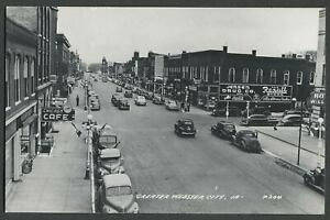 Webster-City-IA-c-1940s-RPPC-Photo-Postcard-BUSINESS-DISTRICT-DOWNTOWN-MAIN-ST