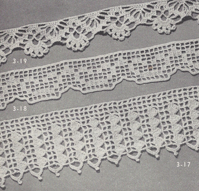 Vintage Crochet Pattern To Make 3 Easy Lace Edging Designs Bands