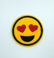 22182 Yellow Happy Face Emoji Smiley Heart Eyes Love Embroidered Iron On Patch