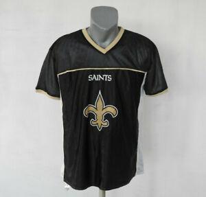 New-Orleans-Saints-Reversable-NFL-Flag-FAN-Shirt-Size-XL-Black-and-White
