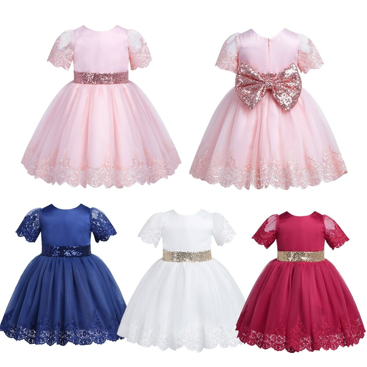 Infant Baby Girls Birthday Party Dress Sequined Princess Pageant Gown Costume