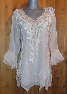 PRETTY-ANGEL-SHIRT-blouse-TUNIC-vintage-gypsy-RUFFLES-LACE-1X-2X-3X-4X-caramel