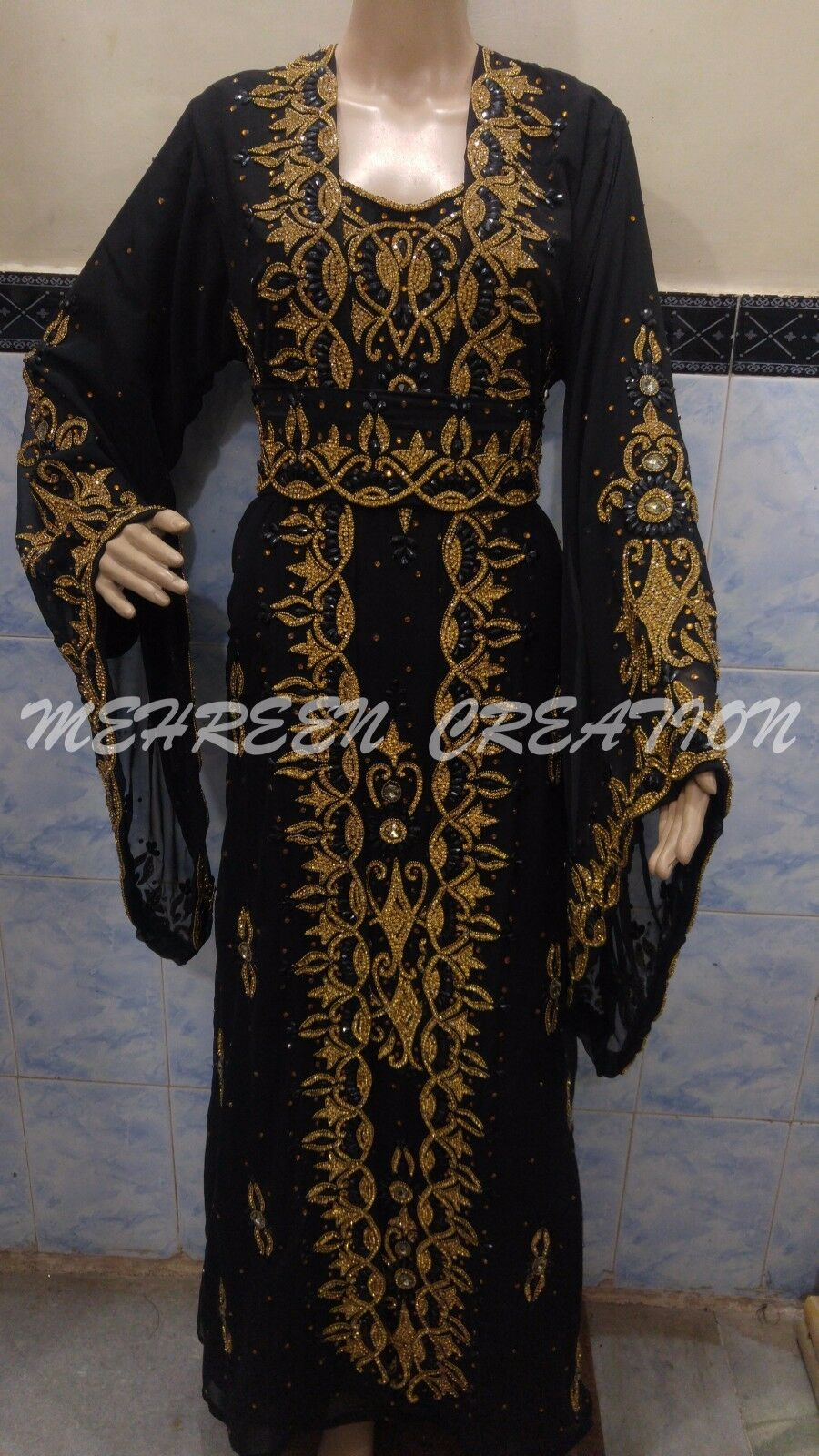 DUBAI MgoldCCAN MODERN BRIDAL KAFTAN DRESS WEDDING GOWN FULL FULL FULL SLEEVE DRESS 2075 f3b3d9