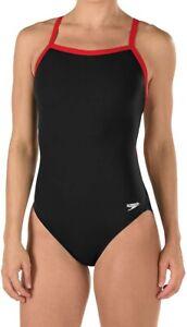 Speedo-Womens-Swimwear-Black-Red-Size-6-32-Endurance-Flyback-Swimsuit-69-490