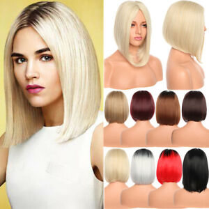 Lady-Girl-Bob-Wig-Women-039-s-Short-Straight-No-Bangs-Full-Hair-Wig-Cosplay-Party-US