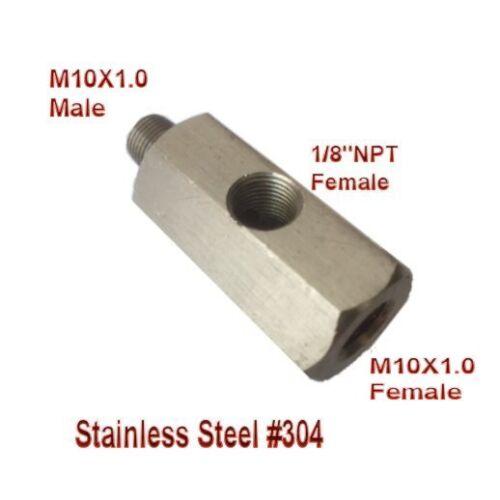 "Oil Pressure 1//8/"" NPT female X M10 M10X1 male /& Female Tee L-48 Metric Adapter"