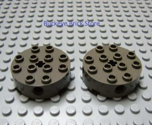4 Side Pin Holes Center Axle Hole Wheel NEW Lego Dark GRAY ROUND BRICK 4x4 X2
