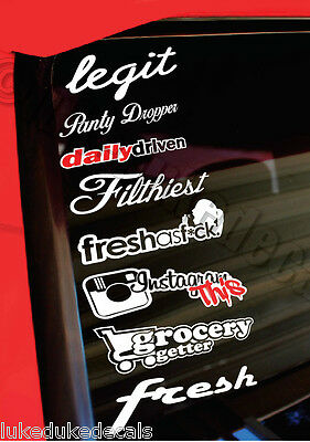 JDM Lot/Pack of 8 Stickers/Decals -legit panty daily driven fresh insta gram p86