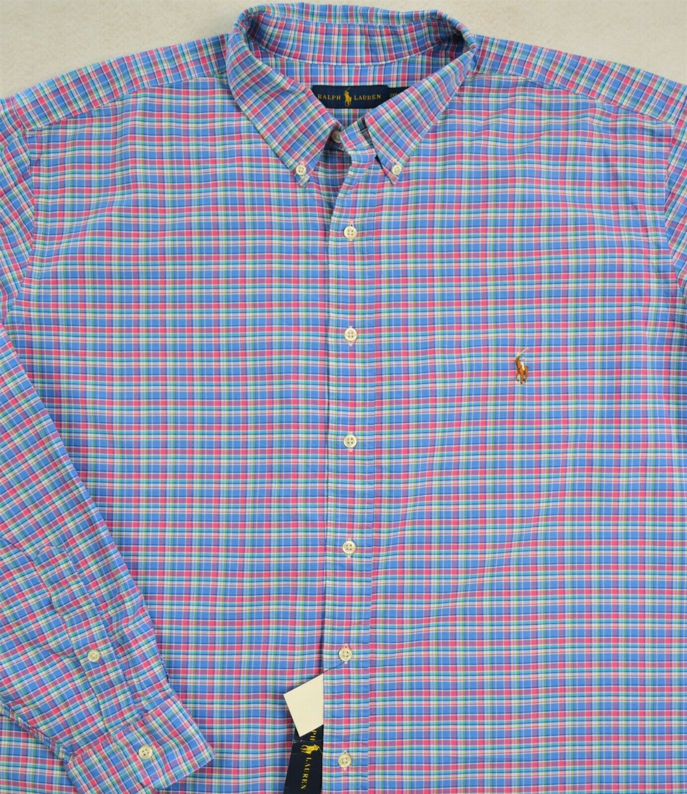 Ralph Lauren Shirt Oxford bluee Pink Plaid Long Sleeves 2XB & 2XLT NWT