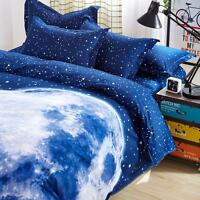 Home Queen King Size Bed Linen Pillowcase Quilt Duvet Cover Moon Night Tkbt