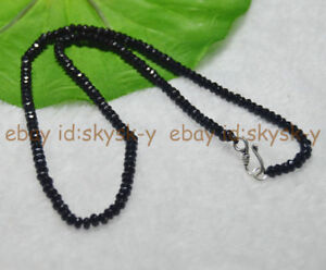 Fine-2x4mm-Black-Agate-Faceted-Roundel-Gems-Beads-Necklace-Silver-Clasp-AAA