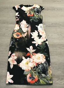 Pretty-Ted-Baker-Candiss-Floral-Amapola-Midi-Lapiz-Bodycon-Vestido-Talla-3-Reino-Unido-12