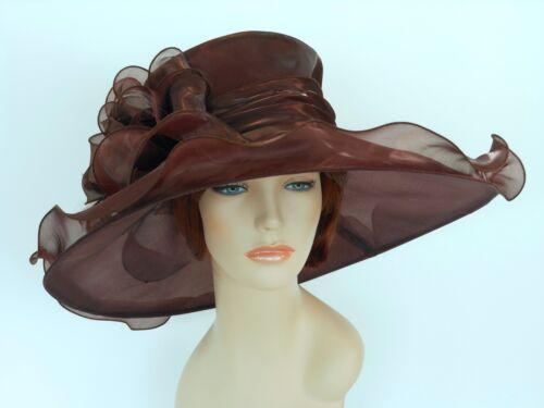 New Church Kentucky Derby Wedding Organza Wide Brim Dress Hat 3546 Brown