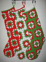 Hand-crocheted Granny Square Pattern 24 Christmas Stocking