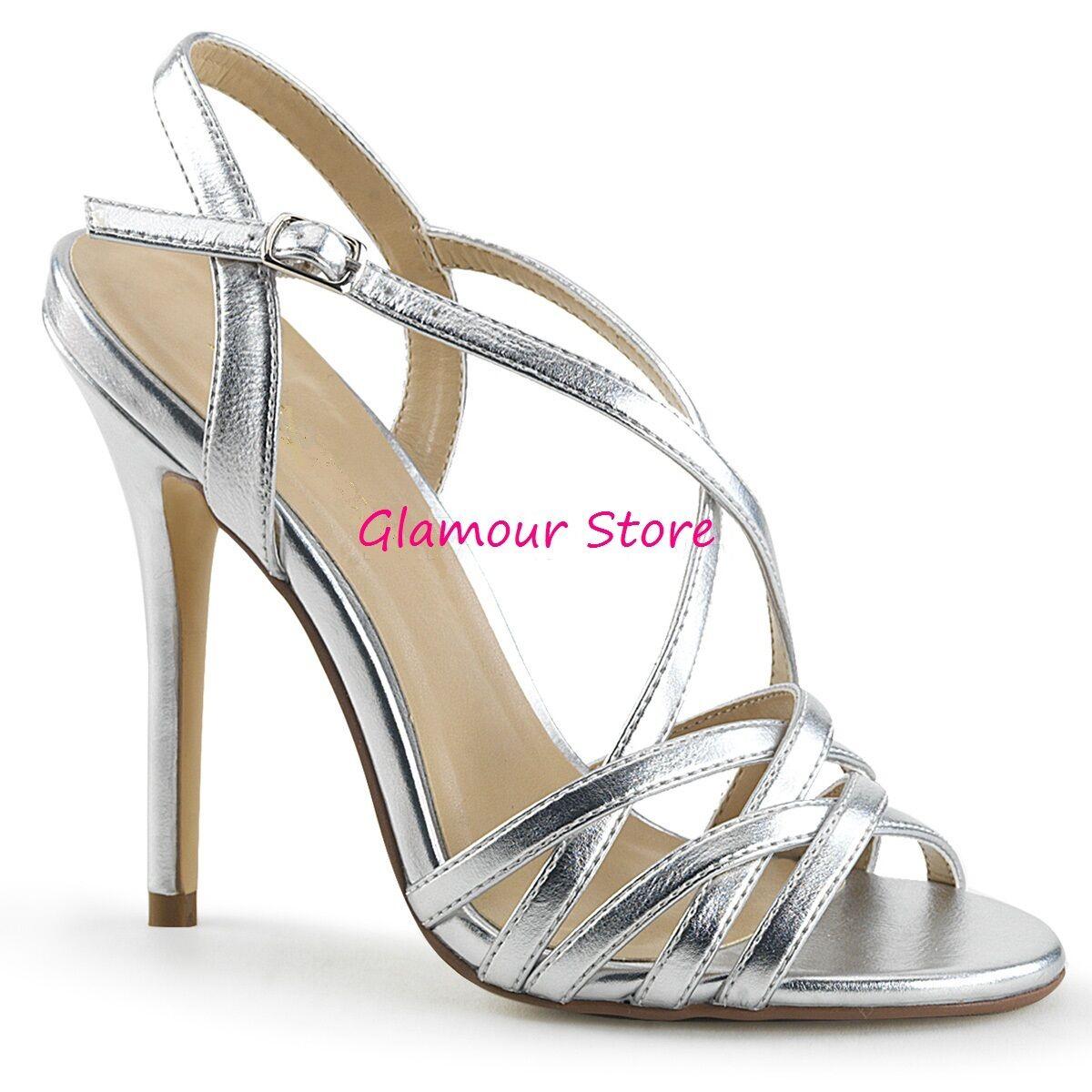 Sexy SANDALI argentooO tacco 13 dal 35 al 44 CRISS CROSS cinturino scarpe GLAMOUR
