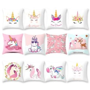 Unicorn-Pillow-Case-Soft-Polyester-Sofa-Cushion-Cover-Throw-Kids-Home-Bed-Decor