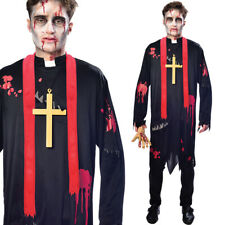 Zombie Vicar Costume Undead Priest Halloween Fancy Dress Adult Medium