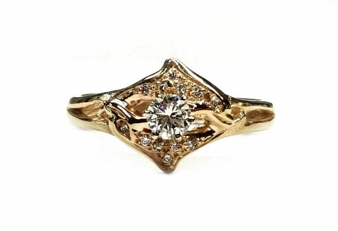Dolphin Diamond Engagement Ring, w  25pt. Center, with Diamonds in Dolphins, 14k