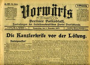 Zeitung-VORWARTS-1-November-1917-Die-Kanzlerkrise-vor-der-Loesung-Russland