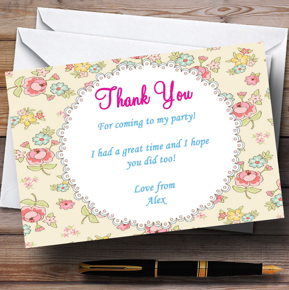 Pretty Garden Tea Party Thank You Cards Personalised Party Thank You Cards