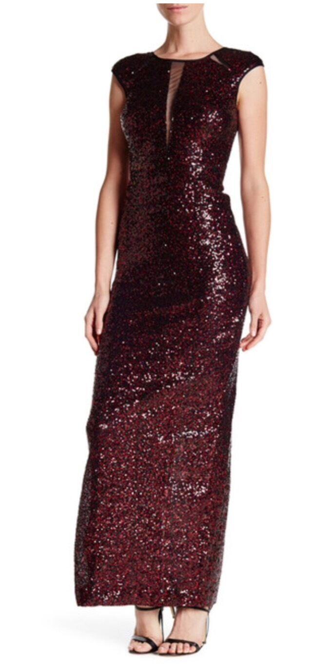 Nicole Miller New York Sequin Mesh Cutout Gown Größe 10