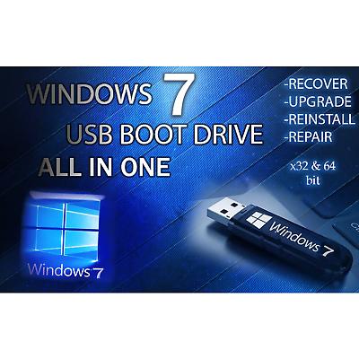 WINDOWS 7 ALL VERSIONS 64GB USB✅Ultimate Pro Home Starter Business✅32//64bit