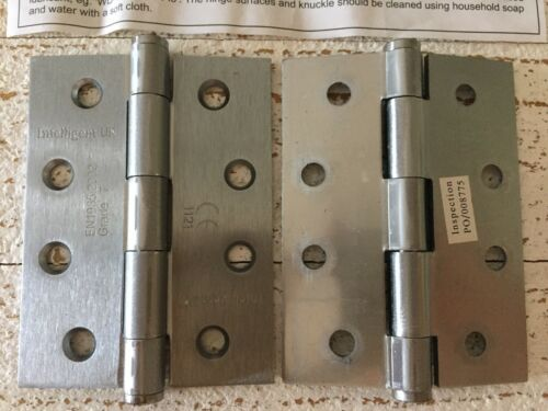 Satin Chrome Steel Fixed Pin Button Tipped 4 Hole Door Hinges 100x75mm