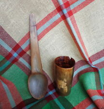 1850s ONE Antique Cow Horn Cup - ONE Large Horn Spoon Gorgeous  Rustic Display!