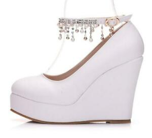 partyladies round toe high wedge heels ankle strappy