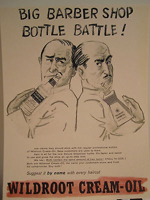 "Vintage 1950's Barber Wildroot Hair Tonic Sign ""Bottle Battle"" 2 Barbers Drawing"