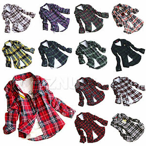 Fashion-Women-Campus-Plaid-Check-amp-Flannel-Shirts-Button-Down-Tops-Blouse-Tee-6-14