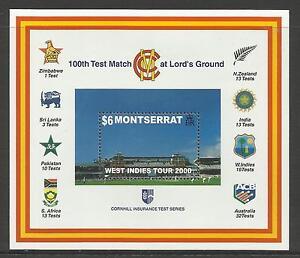 MONTSERRAT-2000-LORD-039-S-CRICKET-100th-CENTENARY-TEST-MATCH-Souv-Sheet-MNH