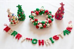 Felt-Handmade-Merry-Christmas-Letter-Wreath-Mini-Christmas-Tree-Bundle